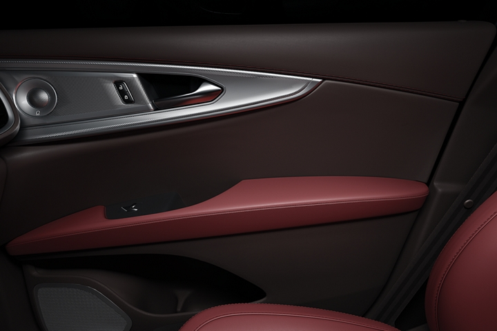 A sound system speaker and rich leather detail are shown on the inside of the passenger front door