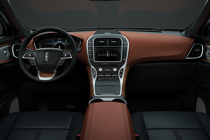 The drivers and front passenger seats of a Lincoln Black Label Nautilus in the Thoroughbred theme are shown from the second row looking forward