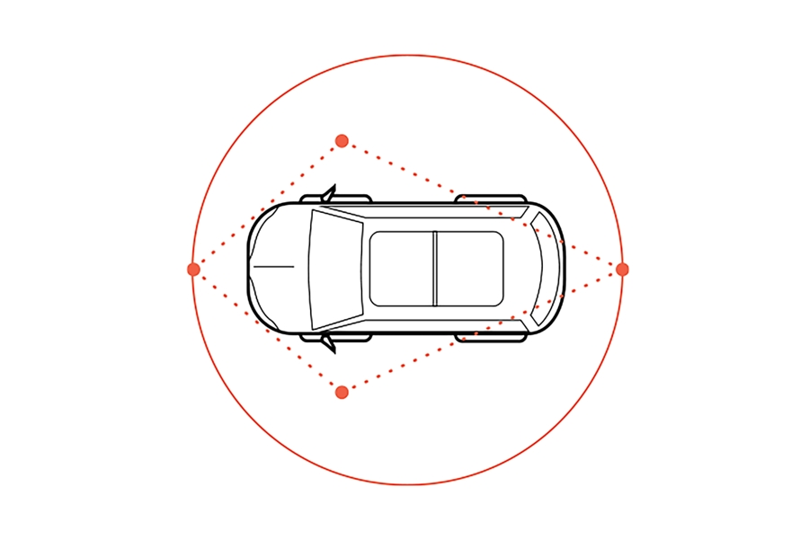 An illustration shows a simulated circle around a vehicle to demonstrate the range of the Available three sixty degree camera