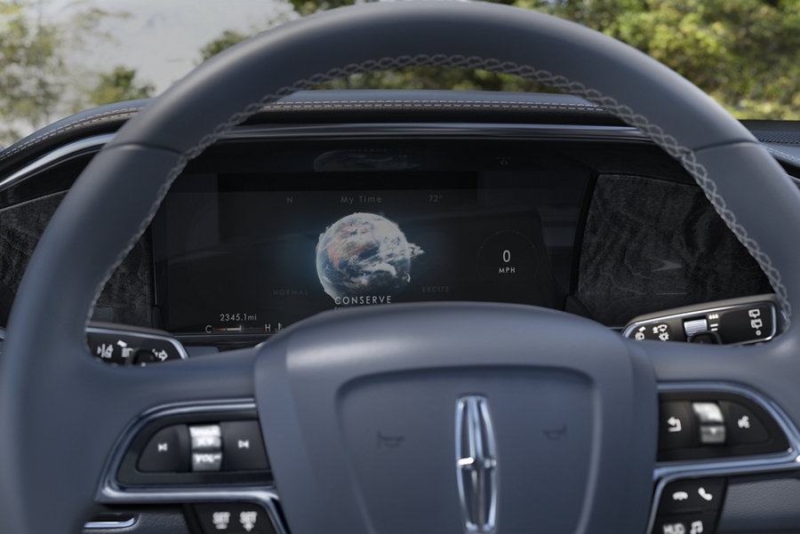 One of the six available Lincoln Drive modes Conserve is seen on the information screen behind the steering wheel