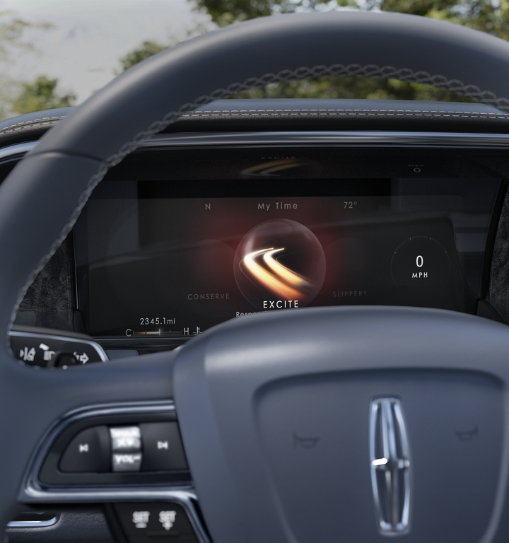 One of the six selectable modes that come with available Lincoln Drive Control is shown in the dashboard