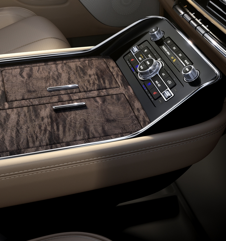 The spacious 3 chambered center front console offers ample storage and access to mobile device charging