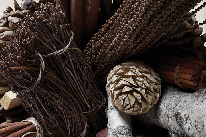 A collection of pine cones cinnamon sticks and other winter herbs is shown to represent the inspiration of the Chalet theme