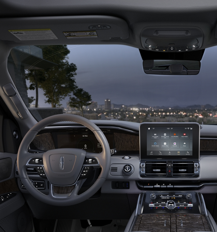 The front cabin of the Lincoln Navigator is shown in the slate interior color