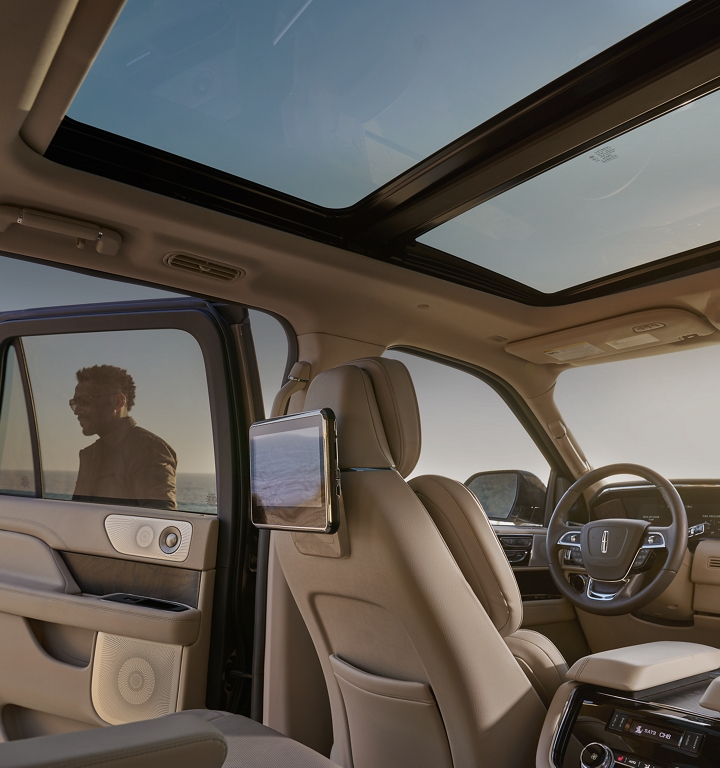 The Lincoln Navigator as seen from the third row looking forward showing two available 10 inch entertainment screens