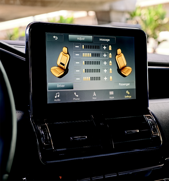 The controls for the perfect position seats are displayed on the center consoles touch screen
