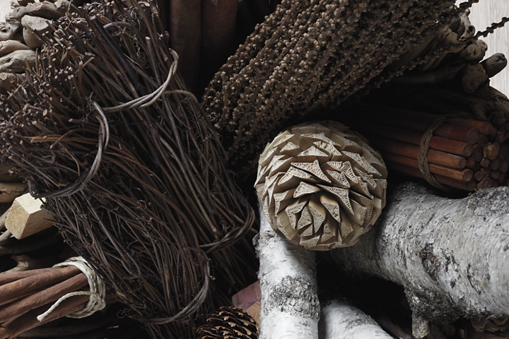 A collection of pine cones cinnamon sticks and other winter herbs represent the inspiration of the Chalet theme and bring to mind soothing scents
