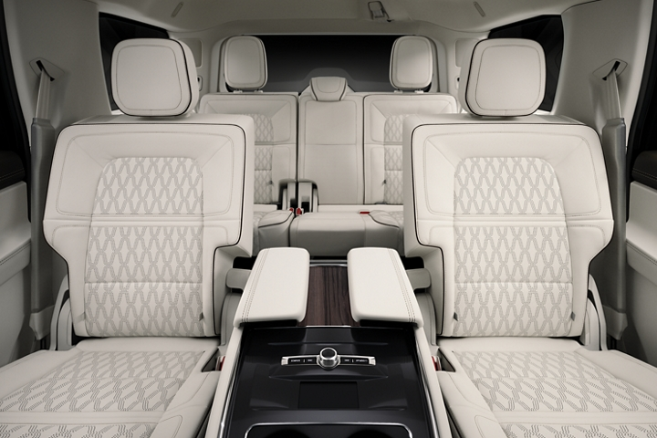 The spacious second and third rows of the 2020 Lincoln Black Label Navigator feature unique seat stitching patterns that add interest and style